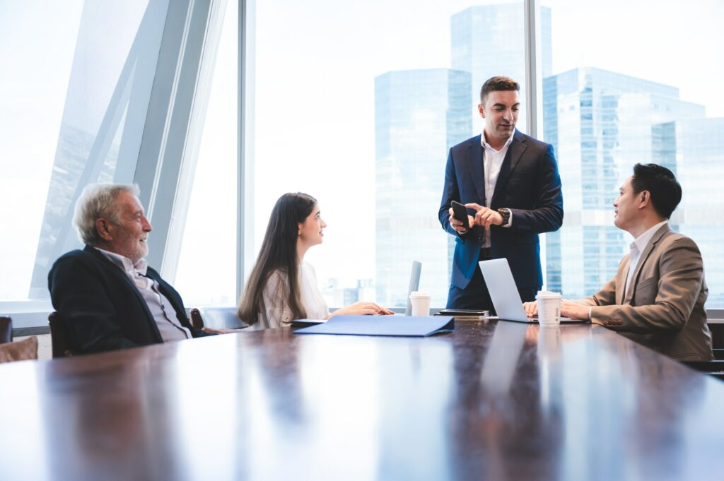 business team meeting in modern office, Corporate business manager in a meeting